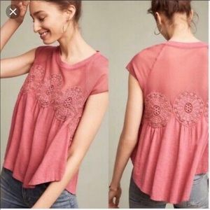 Anthropologie Meadow Rue red medallion mesh top